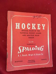 1958 59 Spalding Official Rule Book of the National Hockey League 100 pages $15.00