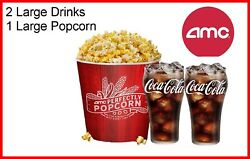 AMC Theaters 2 Large Drinks amp; Large Popcorn Fastest Delivery $9.75