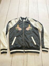 VANS California Satin Embroidered tiger floral Bomber Jacket Sz Small $26.24