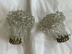 Vintage Pair Crystal Beaded Bulb Cover Lamp Shades Czech Figural Lamp $325.00