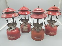COLEMAN 200A VINTAGE LANTERN RED Lot of 4 63 63 69 72 Distressed $319.95