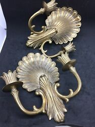 Pair Brass Double Candle Wall Sconce Shell Design 10quot; high by 8quot; wide $60.00