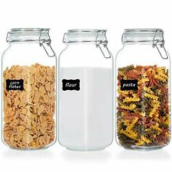 78oz Glass Food Storage Jars w Airtight Clamp Lids3 Pack Large Kitchen Canister $28.93