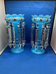 Pair Antique Blue Hand Painted Mantle Lusters Lustre with Cut Glass Prisms $500.00