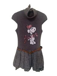 quot;Sweetquot; Dog Girls Boutique Sweater Dress with Pleated Skirt Size 12 Years Italy $22.50