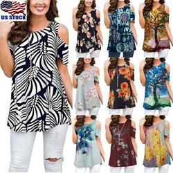 Womens Floral Cold Shoulder Tunic Tops Ladies Loose Short Sleeve T Shirt Blouse $14.62