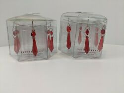 Chandelier Prisms 12 RED Glass Pottery Barn Two Bobeche Lamp Light Collar $29.99