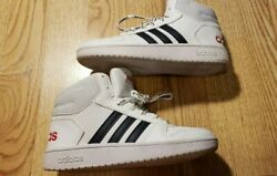 Adidas Boys High Top Shoes Sneakers Size 1 White Blue CUTE Children#x27;s $47.99