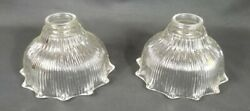 PAIR Vintage Antique HOLOPHANE Glass Ribbed Ruffle Hanging BELL Lamps 2 Shade $65.00