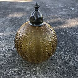 Vintage Mid Century Modern Amber Glass Hanging Swag Lamp Retro 1960#x27;s Globe Only $46.35