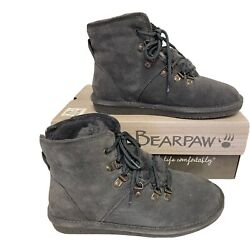 BEARPAW Women#x27;s Kerri Suede Lace up Boot with NeverWet™ Size 9 WIDE Charcoal $34.00