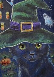 ACEO Orig Black Cat Witch Hat Ghosts Halloween Miniature Art Impressionism $14.99