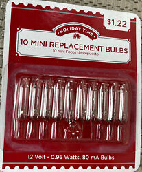 1 Pack of 10 Mini Replacement Bulbs Clear 12v 80mA Christmas New Factory Sealed $8.28