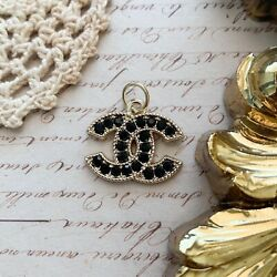 Chanel Gold Black Crystal Zipper Pull Stamped Auth 22 mm $24.00