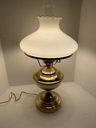 Vintage Hurricane Lamp Brass With White MIlk Glass Ruffle Shade 23quot; Tall $48.00