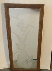1980s Vintage Randolph Buford Etched Frosted Wall Mirror Vase Wood Frame $42.00