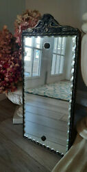 Antique Wall Mirror Rectangle Beveled Pie Crust Edge Wood Crown Shabby $45.00