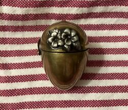 Antique Thread And Thimble Case Brass With Flowers For Chatelaine $75.00