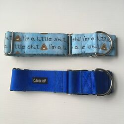 Set blue big dog XL dog collar CANINUS and I#x27;m a little sh t Thick 2quot; wide $19.99