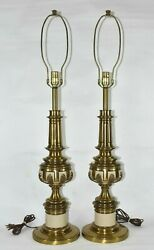 Set 2 Vtg Stiffel Brass Neoclassical Mid Century MCM Pair Table Lamps Hollywood $274.99
