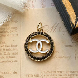 Chanel Black Crystal Zipper Pull Goldtone Stamped Auth 24 mm $24.00