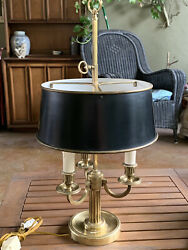 Vtg MCM Bouillotte Table Lamp Brass 3 Light Adjustable Metal Tole Shade Italy $199.95