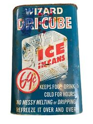 Vintage Oil Can Wizard Dri Cube Ice in a Can Boyle Midway Inc. Full Can $14.98