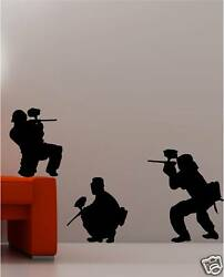 3X PAINTBALL ARMY wall art stickers KIDS bedroom decal GBP 10.00