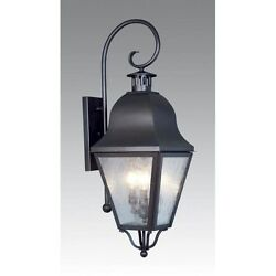 Livex 3 Light Colonial Lg Outdoor Wall Lamp Lighting Fixture Bronze Clear Glas