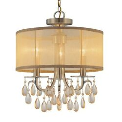 Crystorama Hampton 3 Lt Brass Etruscan Crystal Drum Shade Chandelier 5623 AB $244.99