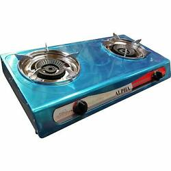 DOUBLE BURNER STOVE DOUBLE HEAD PORTABLE PROPANE GAS FOR OUTDOOR CAMPING $65.99