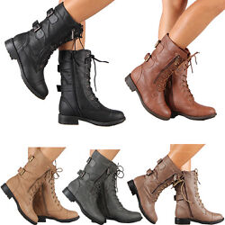 Womens Combat Military Boots Lace Up Buckle New Women Fashion Boot Shoes Size $31.13