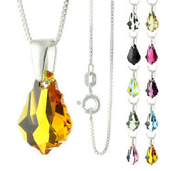 925 Sterling Silver Faceted Baroque Topaz Crystal Pendant Necklace