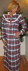 Nightgown Long Cotton Flannel S 3XL Made in USA Asst Colors Plaids $38.84