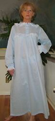 Nightgown Long Cotton lightweight Blue amp; Peach S – 3XL Made in USA $33.19