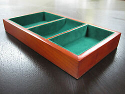 Valet Tray 3 Compartment WOOD Wooden Wallet Coins Watch Phone Ring Organizer Box