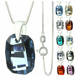 925 Sterling Silver Faceted Graphic Denim Blue Crystal Pendant Necklace