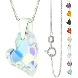 925 Sterling Silver Faceted Devoted Heart Crystal AB Pendant Necklace
