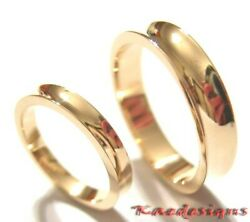 GENUINE 2 RINGS X SOLID 18CT ROSE GOLD CONCAVE WEDDERS BANDS RINGS