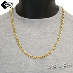 24quot;MEN#x27;s Stainless Steel 6mm Gold Cuban Curb Link Chain Necklace $13.99