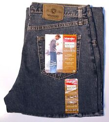 New Wrangler Five Star Men#x27;s Relaxed Fit Jeans Vintage Denim Color All Sizes $24.99