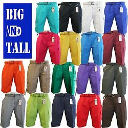 Men Big and Tall BTL Cargo Shorts With Belt Cotton Twill 18 Colors Size 44 56 $22.95