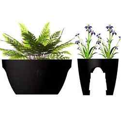 Greenbo Outdoor Railing Planter (Set of 2) - Black XL (23.6