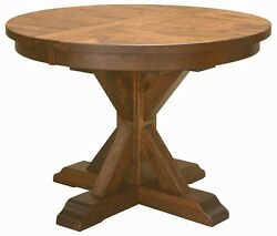 Amish Rustic Plank Top Dining Table Round Pedestal Solid Wood Furniture 48