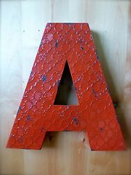 INDUSTRIAL RED METAL WALL LETTER quot;Aquot; 20quot; TALL rustic vintage decor novelty sign $36.99
