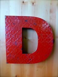 INDUSTRIAL RED METAL WALL LETTER quot;Dquot; 20quot; TALL rustic vintage decor antique sign $36.99