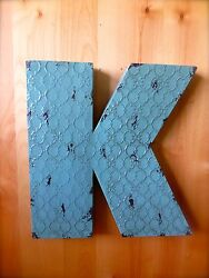 INDUSTRIAL BLUE METAL WALL LETTER quot;Kquot; 20quot; TALL rustic vintage decor novelty sign $36.99