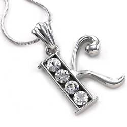 Alphabet Initial Letter K Pendant Necklace Charm Silver Tone Teen Ladies Jewelry