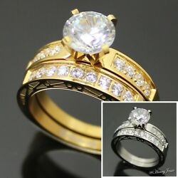 2 Pcs Women Stainless Steel GoldSilver 1.76 CT CZ Engagement Wedding Ring*R62