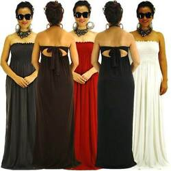 NEW S M L Casual Strapless High Quality Polyester Spandex Siam Trendy Maxi Dress $31.98